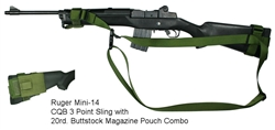 Ruger Mini-14 CQB 3 Point Tactical Sling with 20rd. Buttstock Mag Pouch Combo