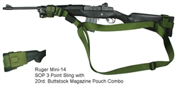 Ruger Mini-14 SOP 3 Point Tactical Sling with 20rd. Buttstock Mag Pouch Combo