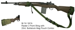 M-14 / M1A Fixed Stock Raider 2 Point Tactical Sling with 20rd. Buttstock Mag Pouch Combo