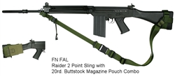 FN FAL Fixed Stock Raider 2 Point Tactical Sling with 20rd. Buttstock Mag Pouch Combo