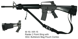 M-16 / AR-15 Raider 2 Point Sling with 30rd. Buttstock Mag Pouch Combo
