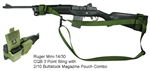 Ruger Mini-14 / 30 CQB 3 Point Tactical Sling with 2/10 Buttstock Mag Pouch Combo